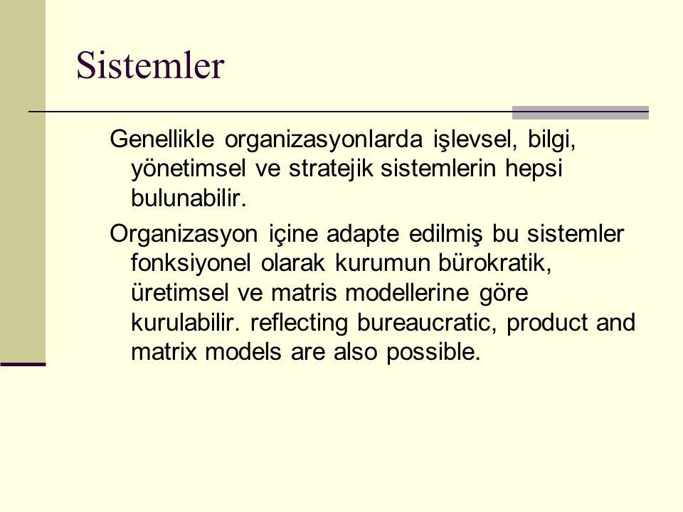Sistemler Genellikle organizasyonlarda işlevsel, bilgi, yönetimsel ve stratejik sistemlerin hepsi bulunabilir. Organizasyon içine adapte edilmiş bu si