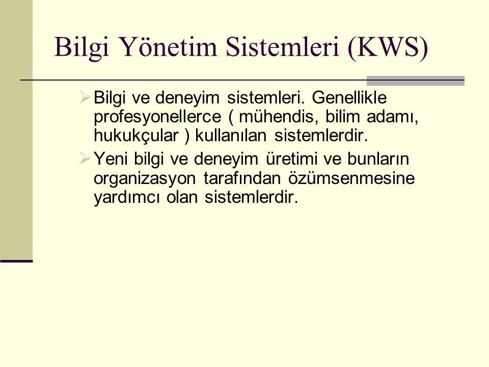 Bilgi Yönetim Sistemleri (KWS)  Bilgi ve deneyim sistemleri. Genellikle profesyonellerce ( mühendis, bilim adamı, hukukçular ) kullanılan sistemlerdi