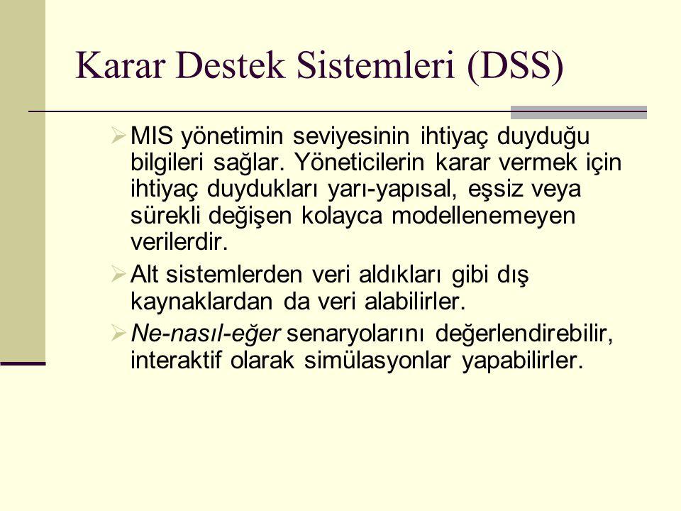 Karar Destek Sistemleri (DSS)  MIS yönetimin seviyesinin ihtiyaç duyduğu bilgileri sağlar. Yöneticilerin karar vermek için ihtiyaç duydukları yarı-ya