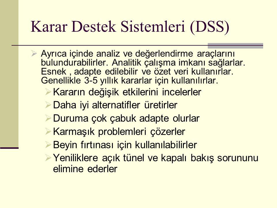 Karar Destek Sistemleri (DSS)  Ayrıca içinde analiz ve değerlendirme araçlarını bulundurabilirler. Analitik çalışma imkanı sağlarlar. Esnek, adapte e