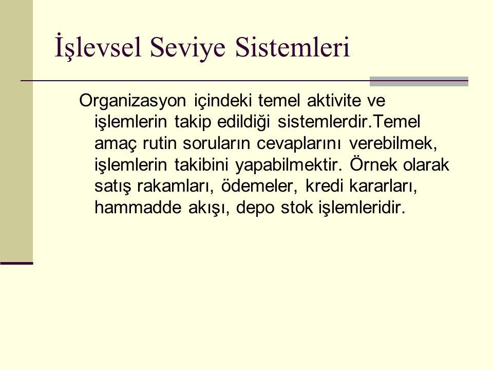 İşlevsel Seviye Sistemleri Organizasyon içindeki temel aktivite ve işlemlerin takip edildiği sistemlerdir.Temel amaç rutin soruların cevaplarını vereb