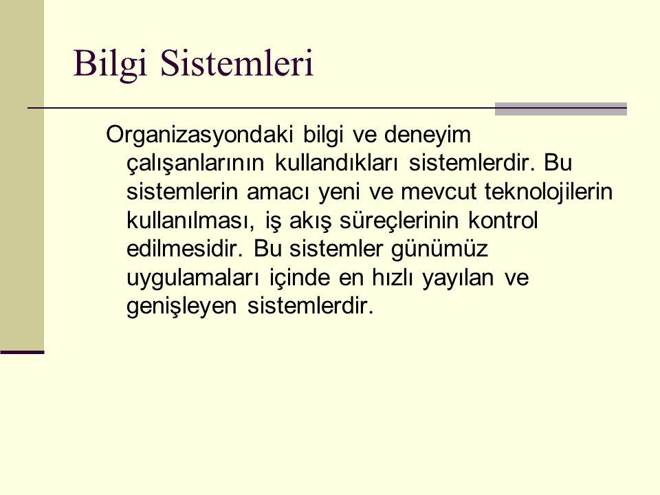 Bilgi Sistemleri Organizasyondaki bilgi ve deneyim çalışanlarının kullandıkları sistemlerdir.