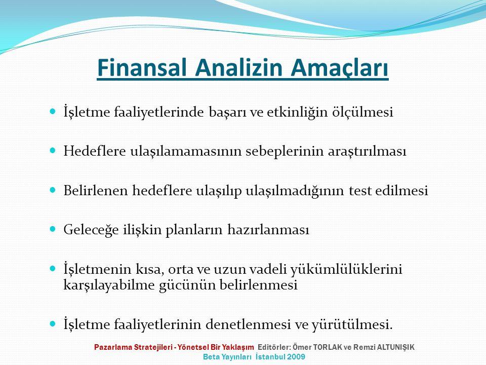 Finansal Analizin Amaçları  İşletme faaliyetlerinde başarı ve etkinliğin ölçülmesi  Hedeflere ulaşılamamasının sebeplerinin araştırılması  Belirlen