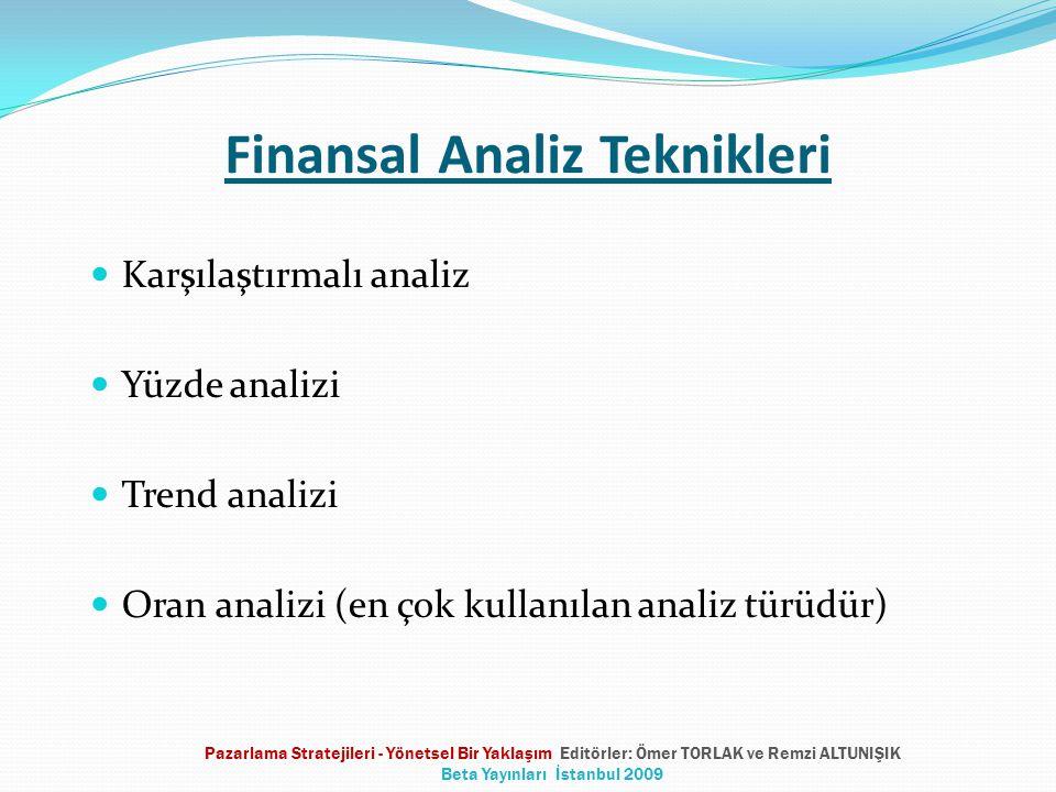 Finansal Analiz Teknikleri  Karşılaştırmalı analiz  Yüzde analizi  Trend analizi  Oran analizi (en çok kullanılan analiz türüdür) Pazarlama Strate