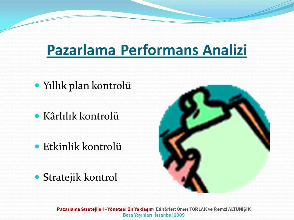 Pazarlama Performans Analizi  Yıllık plan kontrolü  Kârlılık kontrolü  Etkinlik kontrolü  Stratejik kontrol Pazarlama Stratejileri - Yönetsel Bir