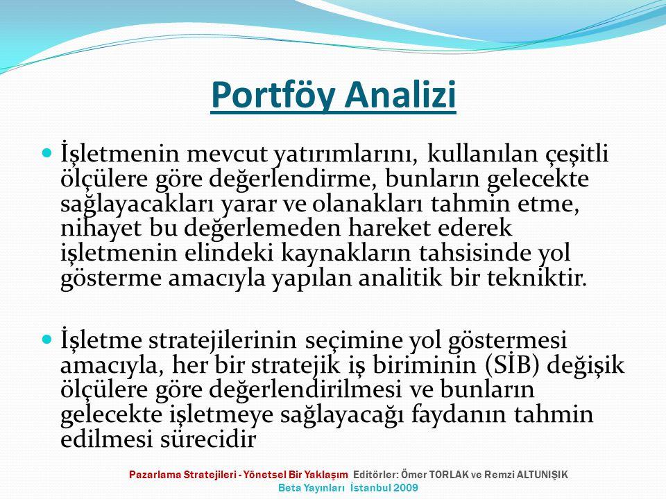 Portföy Analizi  İşletmenin mevcut yatırımlarını, kullanılan çeşitli ölçülere göre değerlendirme, bunların gelecekte sağlayacakları yarar ve olanakla