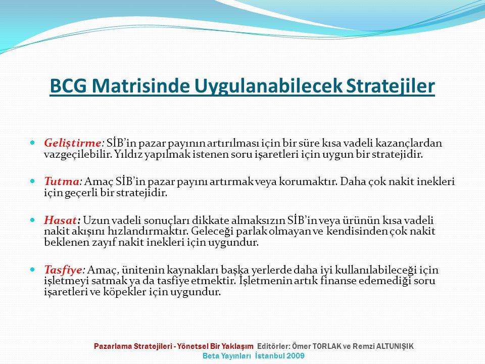 BCG Matrisinde Uygulanabilecek Stratejiler  Geliştirme: SİB'in pazar payının artırılması için bir süre kısa vadeli kazançlardan vazgeçilebilir. Yıldı