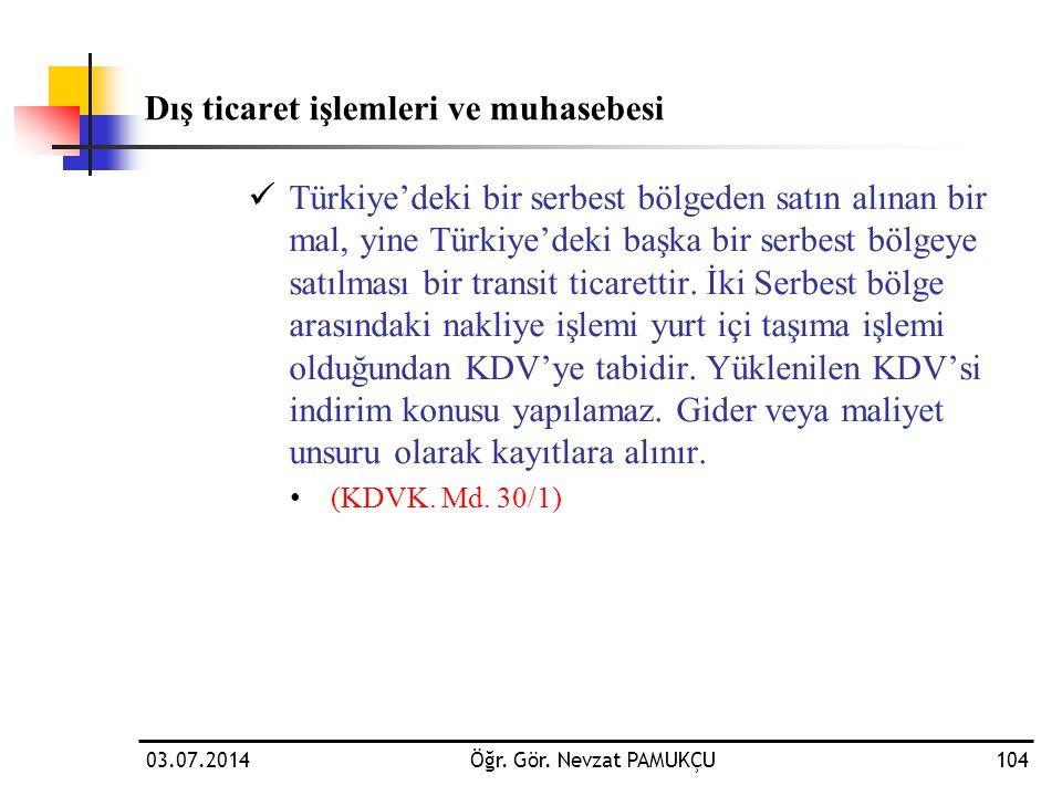 Dış ticaret işlemleri ve muhasebesi  Türkiye'deki bir serbest bölgeden satın alınan bir mal, yine Türkiye'deki başka bir serbest bölgeye satılması bi