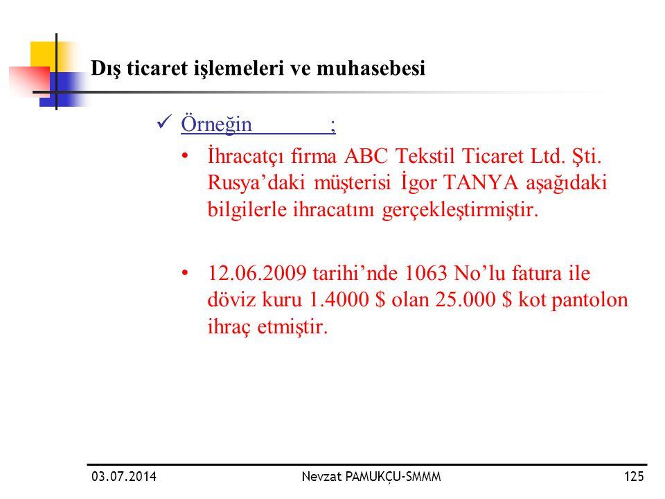 03.07.2014Nevzat PAMUKÇU-SMMM125 Dış ticaret işlemeleri ve muhasebesi  Örneğin; • İhracatçı firma ABC Tekstil Ticaret Ltd. Şti. Rusya'daki müşterisi