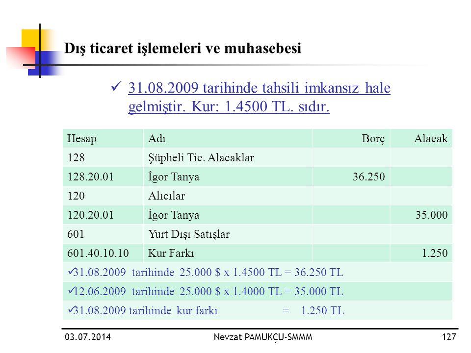 03.07.2014Nevzat PAMUKÇU-SMMM127 Dış ticaret işlemeleri ve muhasebesi  31.08.2009 tarihinde tahsili imkansız hale gelmiştir. Kur: 1.4500 TL. sıdır. H