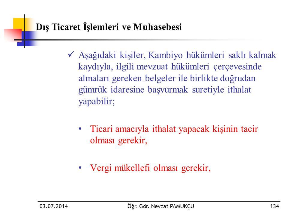 03.07.2014Öğr. Gör. Nevzat PAMUKÇU134  Aşağıdaki kişiler, Kambiyo hükümleri saklı kalmak kaydıyla, ilgili mevzuat hükümleri çerçevesinde almaları ger