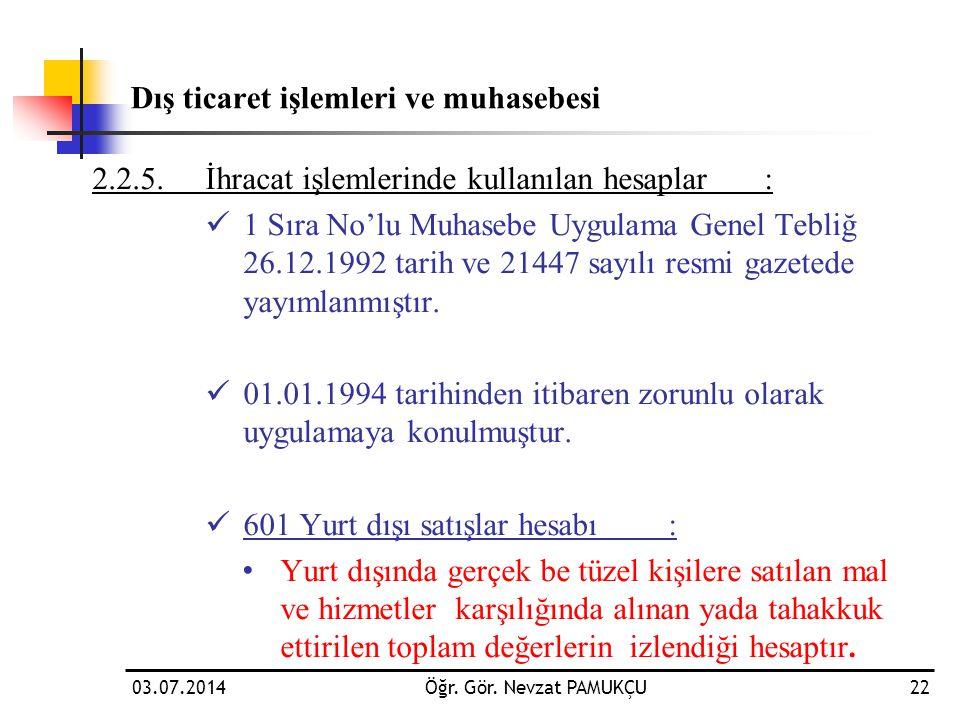 Dış ticaret işlemleri ve muhasebesi 2.2.5.İhracat işlemlerinde kullanılan hesaplar:  1 Sıra No'lu Muhasebe Uygulama Genel Tebliğ 26.12.1992 tarih ve
