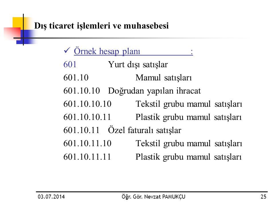 03.07.2014Öğr. Gör. Nevzat PAMUKÇU25  Örnek hesap planı: 601 Yurt dışı satışlar 601.10Mamul satışları 601.10.10Doğrudan yapılan ihracat 601.10.10.10T