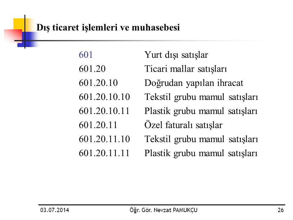 03.07.2014Öğr. Gör. Nevzat PAMUKÇU26 601 Yurt dışı satışlar 601.20Ticari mallar satışları 601.20.10Doğrudan yapılan ihracat 601.20.10.10Tekstil grubu