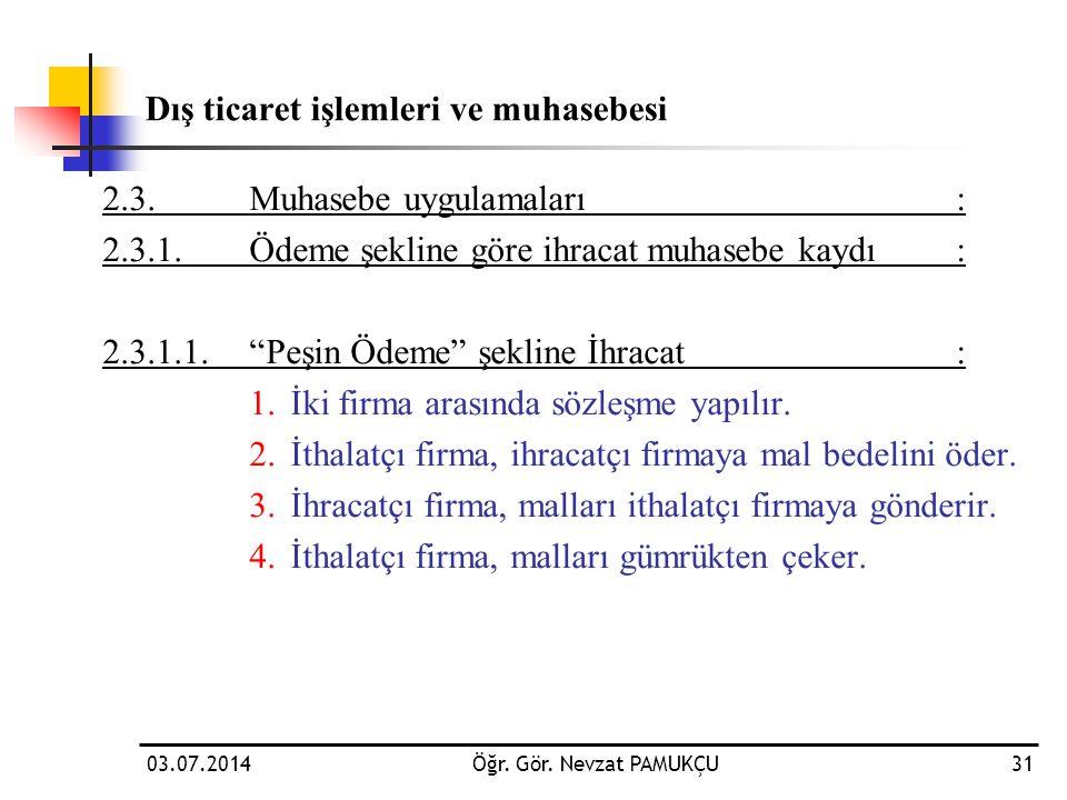 """2.3.Muhasebe uygulamaları: 2.3.1.Ödeme şekline göre ihracat muhasebe kaydı: 2.3.1.1.""""Peşin Ödeme"""" şekline İhracat : 1.İki firma arasında sözleşme yapı"""
