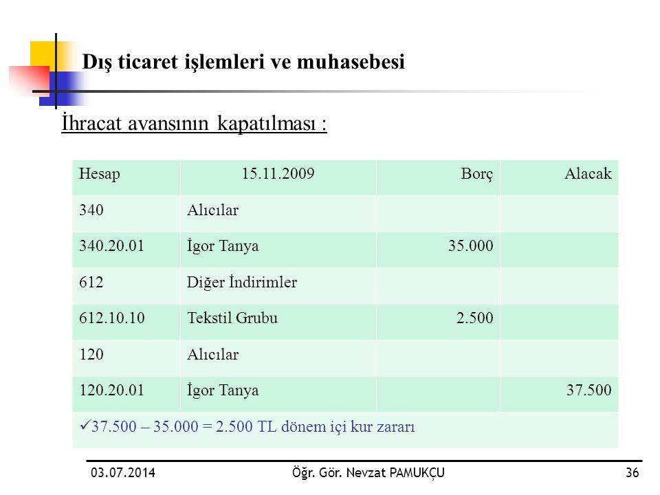 03.07.2014Öğr. Gör. Nevzat PAMUKÇU36 İhracat avansının kapatılması: Dış ticaret işlemleri ve muhasebesi Hesap15.11.2009BorçAlacak 340Alıcılar 340.20.0