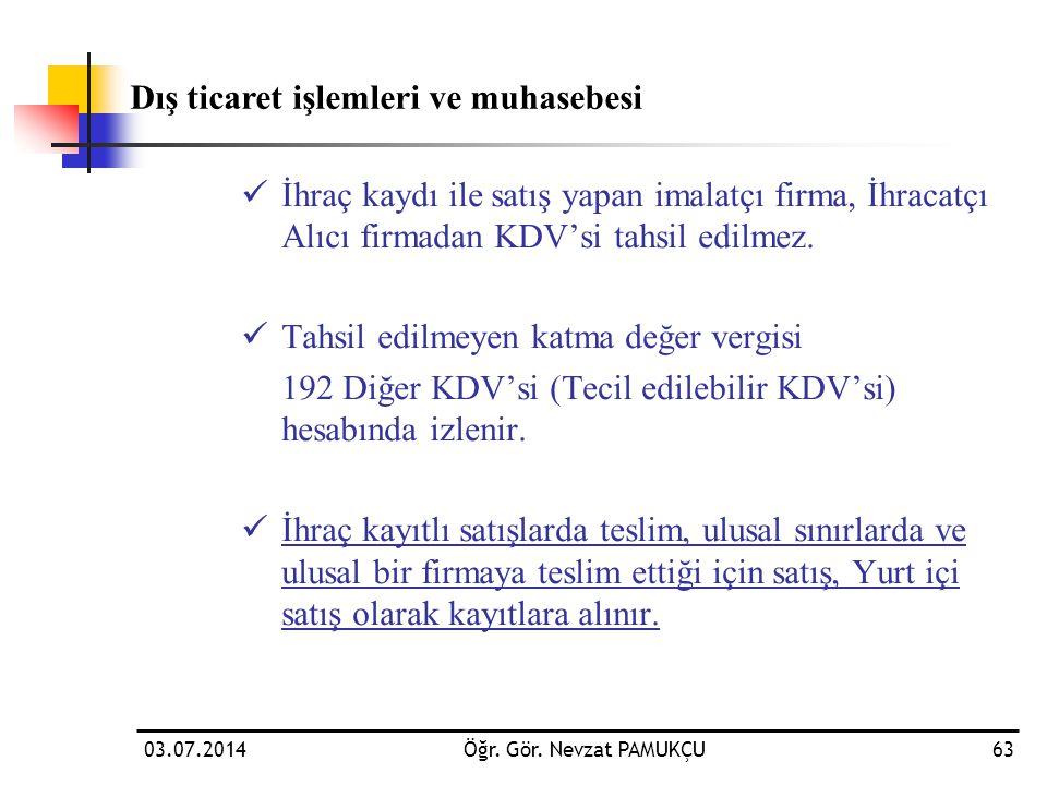 03.07.2014Öğr. Gör. Nevzat PAMUKÇU63  İhraç kaydı ile satış yapan imalatçı firma, İhracatçı Alıcı firmadan KDV'si tahsil edilmez.  Tahsil edilmeyen