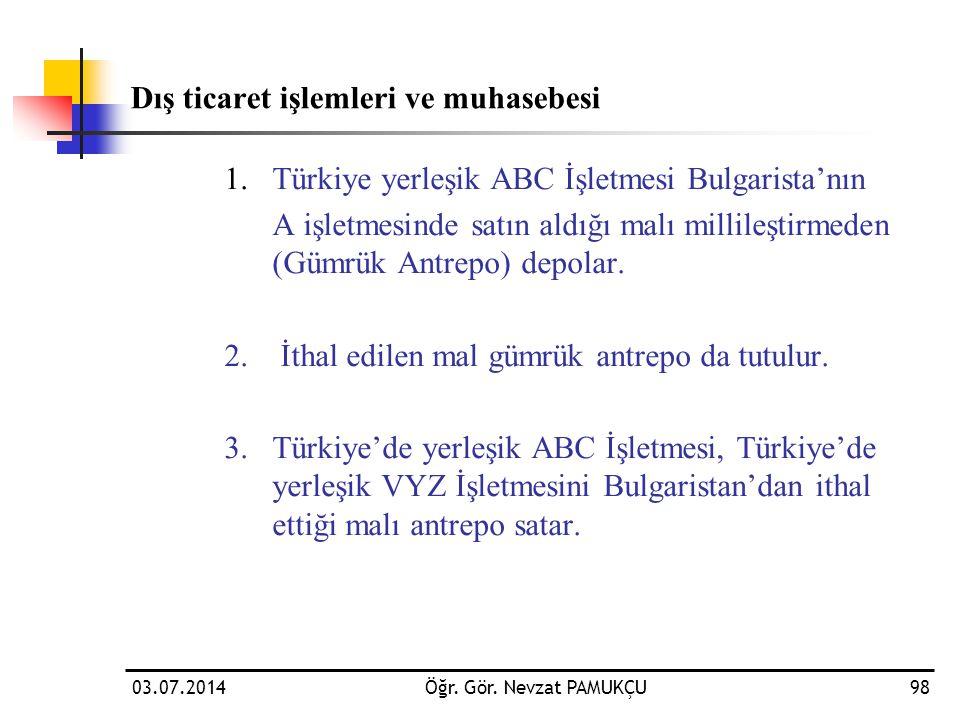 Dış ticaret işlemleri ve muhasebesi 1.Türkiye yerleşik ABC İşletmesi Bulgarista'nın A işletmesinde satın aldığı malı millileştirmeden (Gümrük Antrepo)