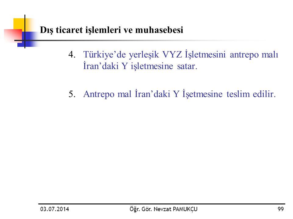 Dış ticaret işlemleri ve muhasebesi 4.Türkiye'de yerleşik VYZ İşletmesini antrepo malı İran'daki Y işletmesine satar. 5.Antrepo mal İran'daki Y İşetme