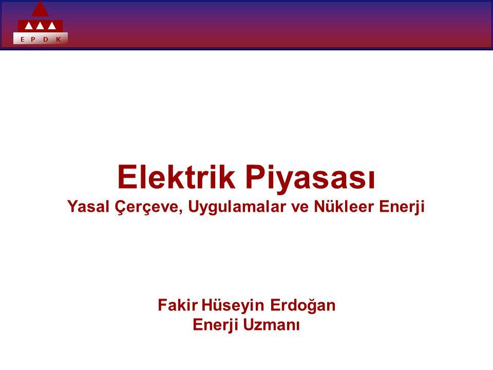 E P D K Elektrik Piyasası Yasal Çerçeve, Uygulamalar ve Nükleer Enerji Fakir Hüseyin Erdoğan Enerji Uzmanı
