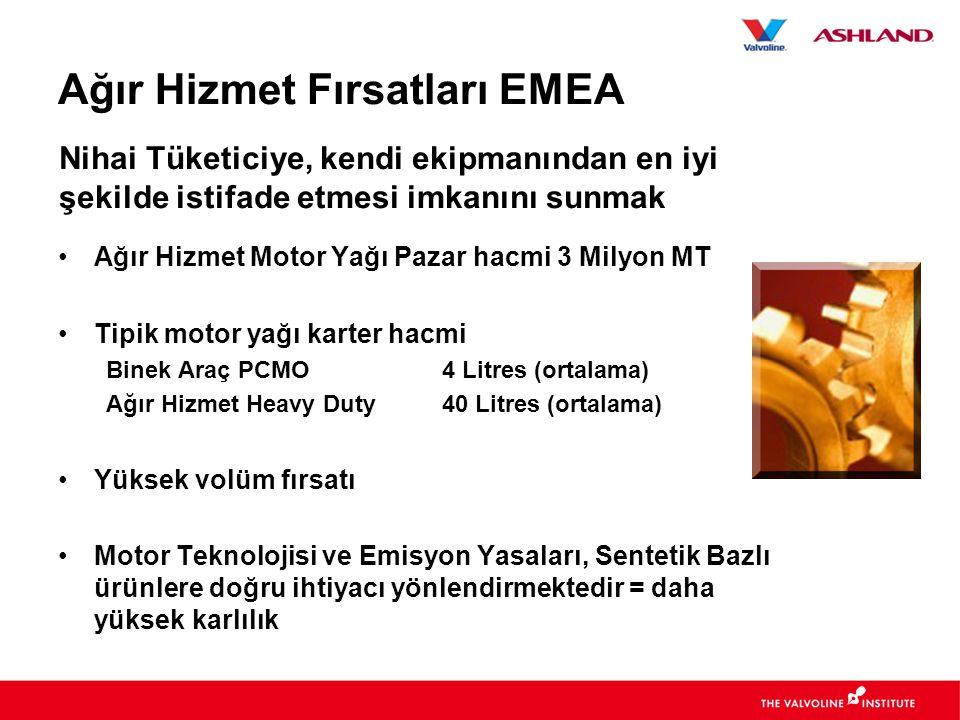 Ağır Hizmet Fırsatları EMEA •Ağır Hizmet Motor Yağı Pazar hacmi 3 Milyon MT •Tipik motor yağı karter hacmi Binek Araç PCMO4 Litres (ortalama) Ağır Hizmet Heavy Duty40 Litres (ortalama) •Yüksek volüm fırsatı •Motor Teknolojisi ve Emisyon Yasaları, Sentetik Bazlı ürünlere doğru ihtiyacı yönlendirmektedir = daha yüksek karlılık Nihai Tüketiciye, kendi ekipmanından en iyi şekilde istifade etmesi imkanını sunmak