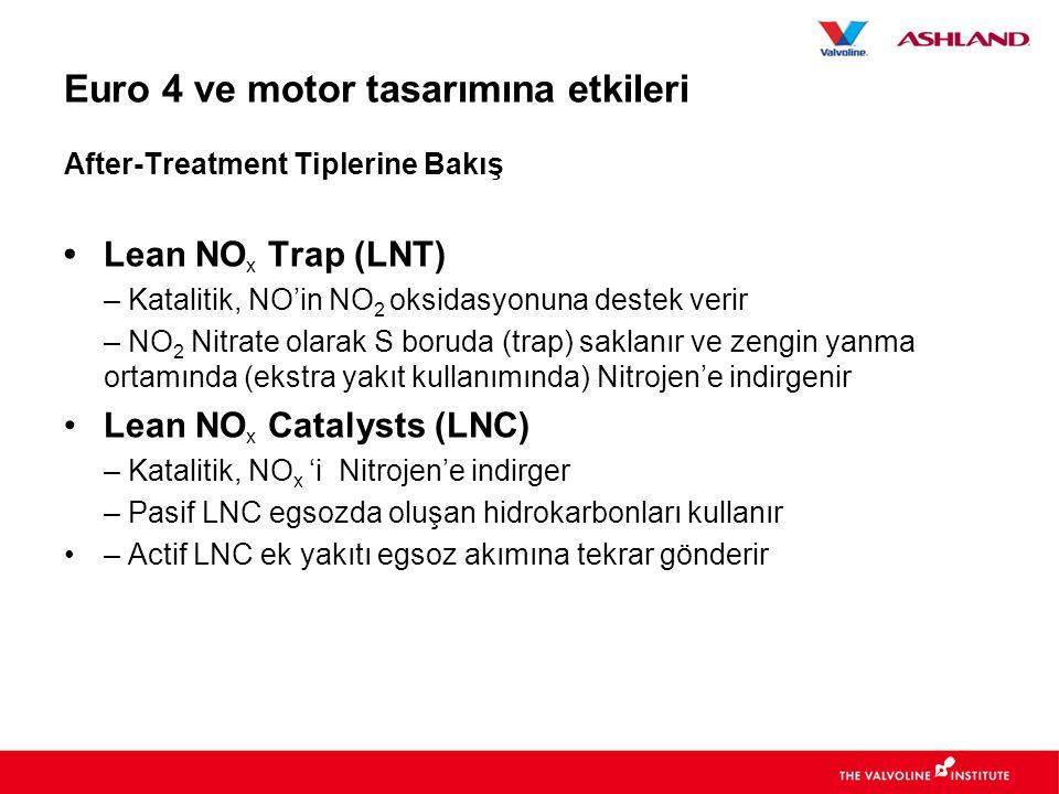Euro 4 ve motor tasarımına etkileri After-Treatment Tiplerine Bakış • Lean NO x Trap (LNT) – Katalitik, NO'in NO 2 oksidasyonuna destek verir – NO 2 Nitrate olarak S boruda (trap) saklanır ve zengin yanma ortamında (ekstra yakıt kullanımında) Nitrojen'e indirgenir •Lean NO x Catalysts (LNC) – Katalitik, NO x 'i Nitrojen'e indirger – Pasif LNC egsozda oluşan hidrokarbonları kullanır •– Actif LNC ek yakıtı egsoz akımına tekrar gönderir