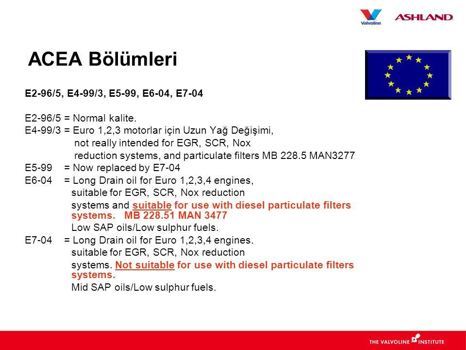 ACEA Bölümleri E2-96/5, E4-99/3, E5-99, E6-04, E7-04 E2-96/5 = Normal kalite.