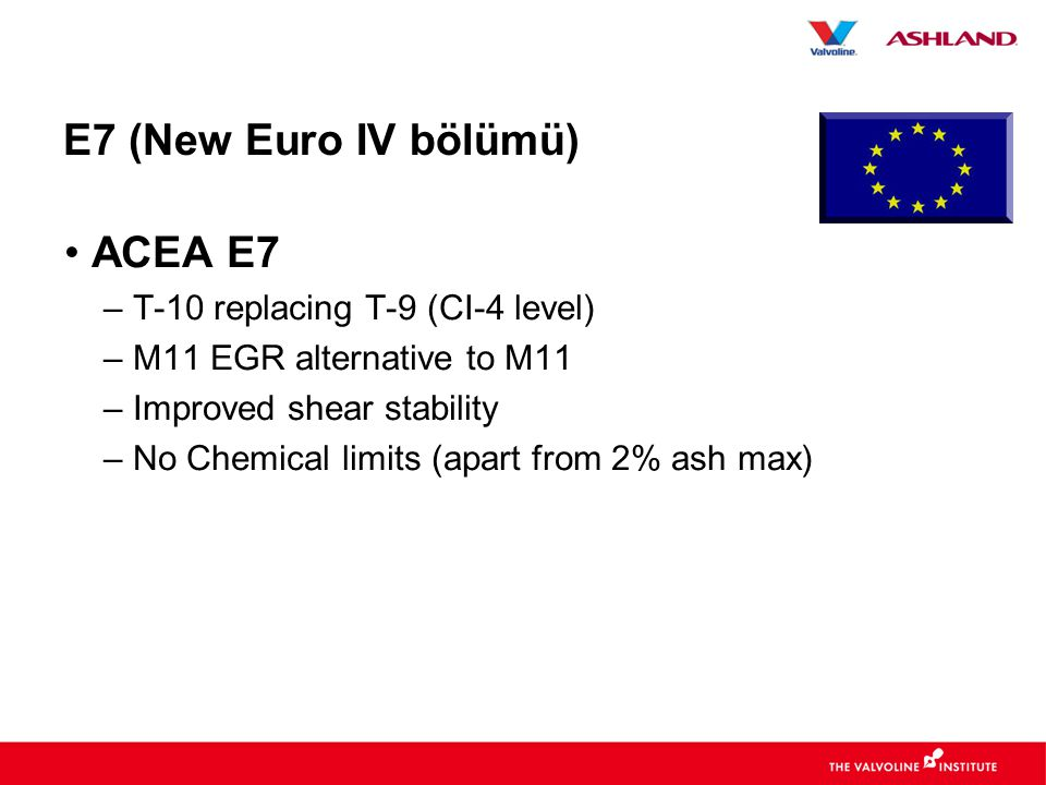 E7 (New Euro IV bölümü) • ACEA E7 – T-10 replacing T-9 (CI-4 level) – M11 EGR alternative to M11 – Improved shear stability – No Chemical limits (apart from 2% ash max)