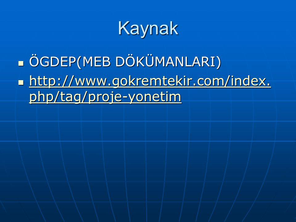 Kaynak  ÖGDEP(MEB DÖKÜMANLARI)  http://www.gokremtekir.com/index. php/tag/proje-yonetim http://www.gokremtekir.com/index. php/tag/proje-yonetim http