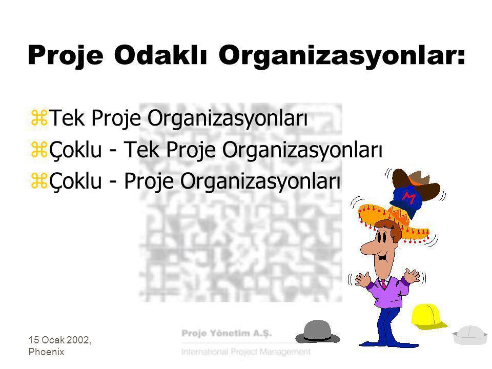 15 Ocak 2002, Phoenix Proje Odaklı Organizasyonlar: zTek Proje Organizasyonları zÇoklu - Tek Proje Organizasyonları zÇoklu - Proje Organizasyonları