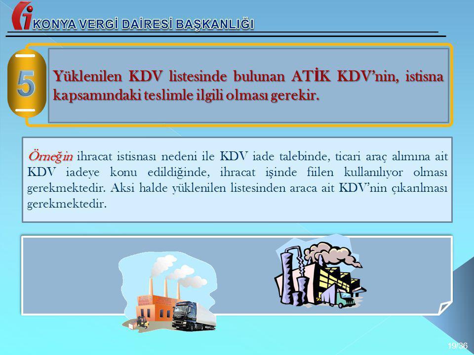 Yüklenilen KDV listesinde bulunan AT İ K KDV'nin, istisna kapsamındaki teslimle ilgili olması gerekir. Örne ğ in Örne ğ in ihracat istisnası nedeni il