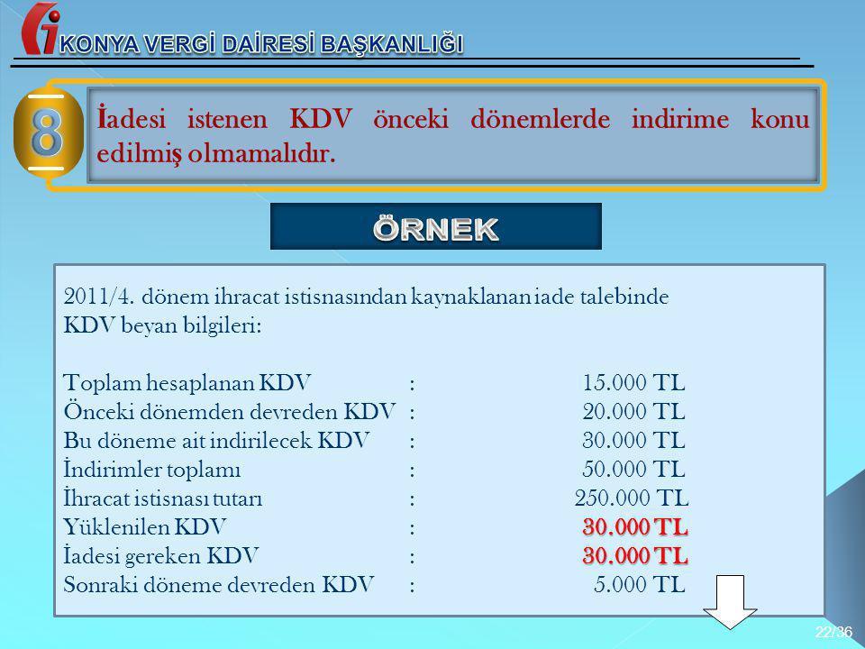 2011/4. dönem ihracat istisnasından kaynaklanan iade talebinde KDV beyan bilgileri: Toplam hesaplanan KDV:15.000 TL Önceki dönemden devreden KDV:20.00