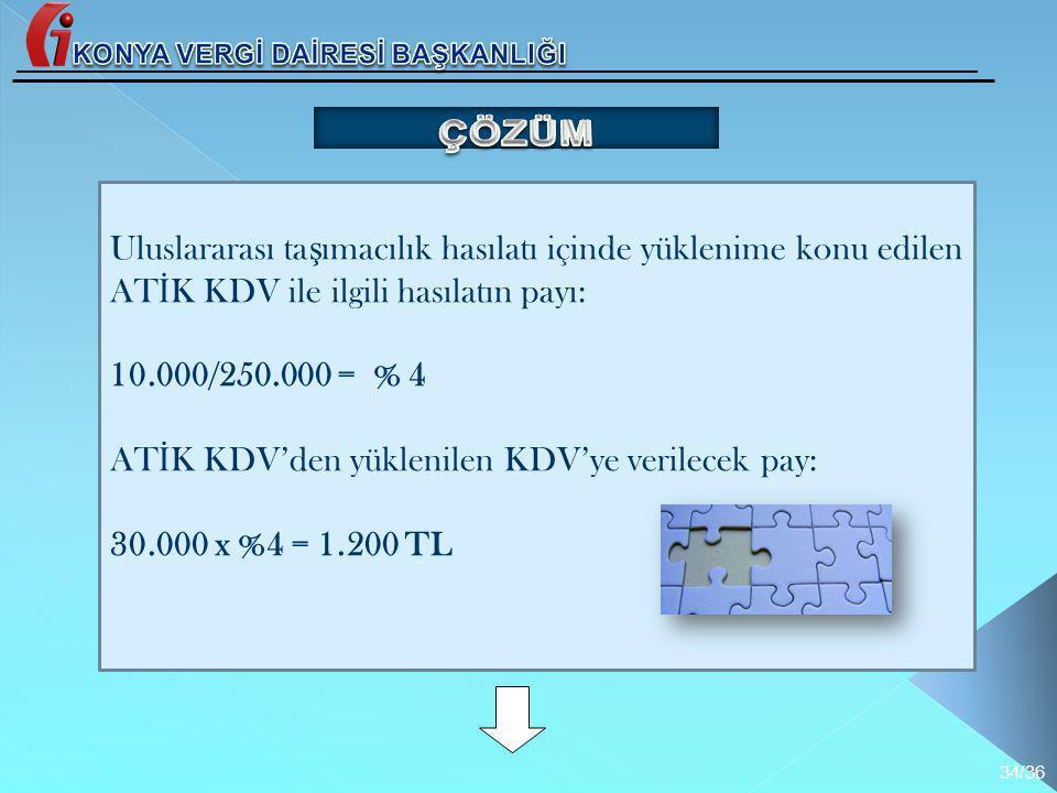 Uluslararası ta ş ımacılık hasılatı içinde yüklenime konu edilen AT İ K KDV ile ilgili hasılatın payı: 10.000/250.000 = % 4 AT İ K KDV'den yüklenilen