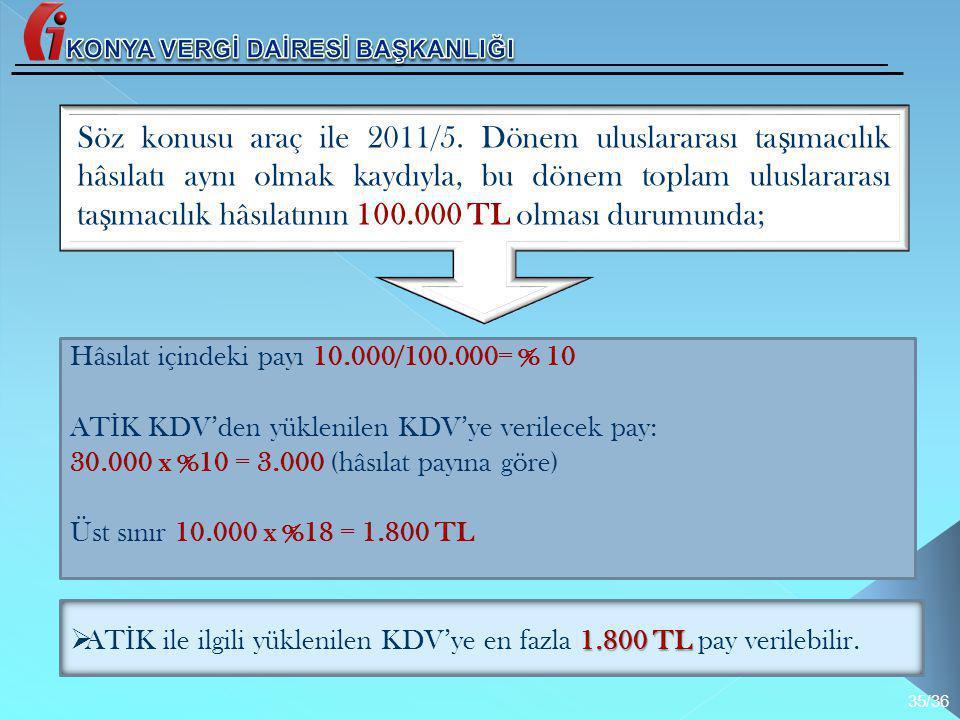 Hâsılat içindeki payı 10.000/100.000= % 10 AT İ K KDV'den yüklenilen KDV'ye verilecek pay: 30.000 x %10 = 3.000 (hâsılat payına göre) Üst sınır 10.000