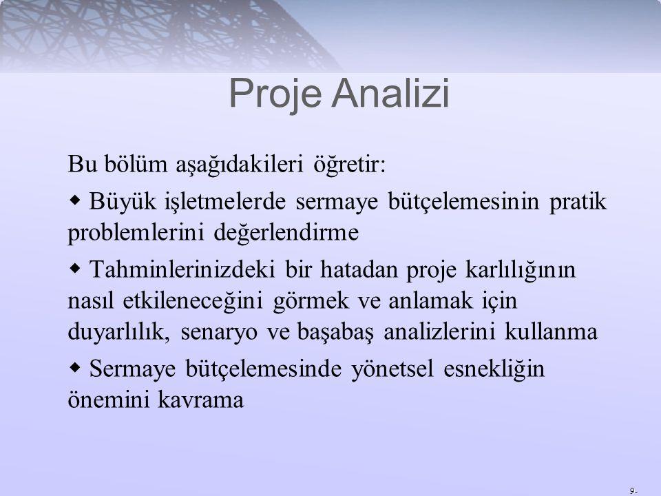 10- Senaryo Analizi Senaryo Analizi – Belli bir varsayımların bileşimine göre proje analizi.
