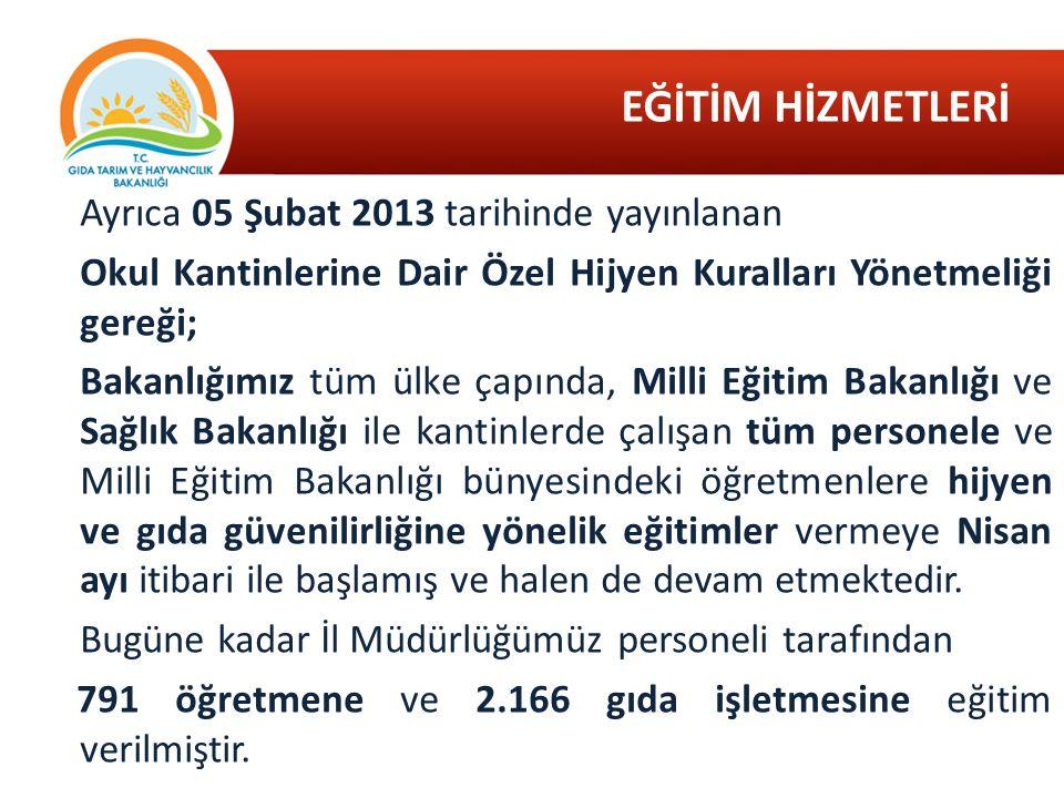 EĞİTİM HİZMETLERİ Ayrıca 05 Şubat 2013 tarihinde yayınlanan Okul Kantinlerine Dair Özel Hijyen Kuralları Yönetmeliği gereği; Bakanlığımız tüm ülke çap