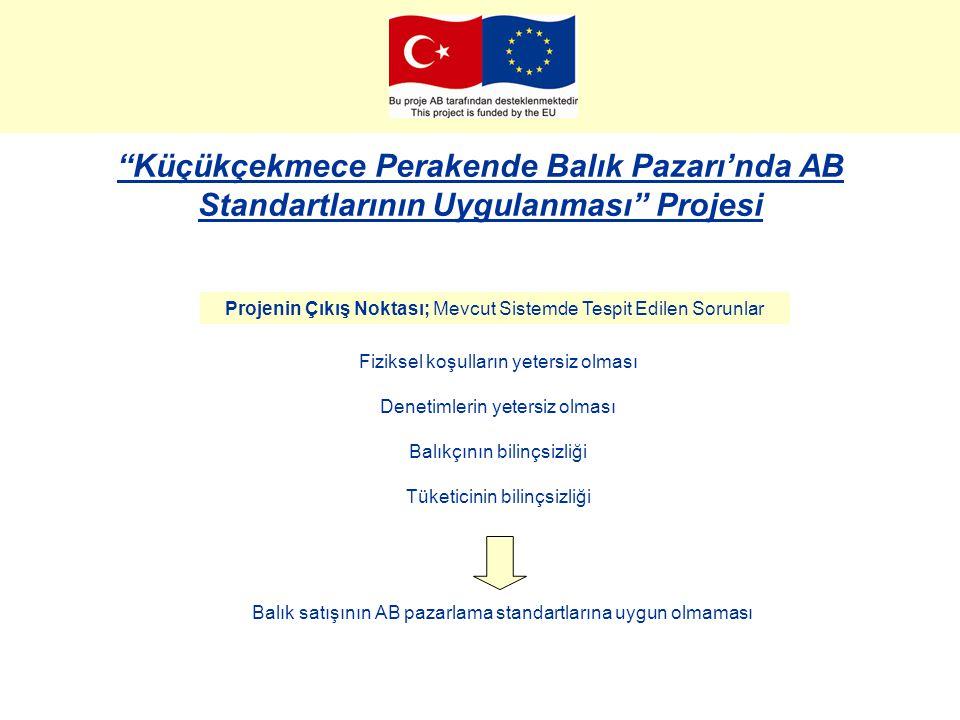 Küçükçekmece Perakende Balık Pazarı'nda AB Standartlarının Uygulanması Projesi Proje Ekibi ve Görevleri; İstanbul Üniversitesi Su Ürünleri Fakültesi - Projenin bilimsel çerçevesinin oluşturulması - Projenin hazırlık ve uygulama aşamasında danışmanlık hizmetinin sağlanması - Eğitim içeriklerinin ve materyallerinin hazırlanması - Eğitimlerin verilmesi -Bilinçlendirme çalışmaları kapsamında kitapçık ve broşür içeriklerinin hazırlanması -Yerel yönetimlere özgü uygulama modelinin oluşturulması ve kitaplaştırılması