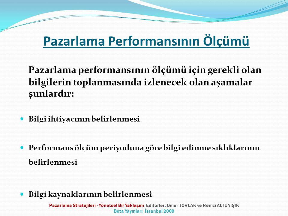 Pazarlama Performansının Ölçümü Pazarlama performansının ölçümü için gerekli olan bilgilerin toplanmasında izlenecek olan aşamalar şunlardır:  Bilgi ihtiyacının belirlenmesi  Performans ölçüm periyoduna göre bilgi edinme sıklıklarının belirlenmesi  Bilgi kaynaklarının belirlenmesi Pazarlama Stratejileri - Yönetsel Bir Yaklaşım Editörler: Ömer TORLAK ve Remzi ALTUNIŞIK Beta Yayınları İstanbul 2009