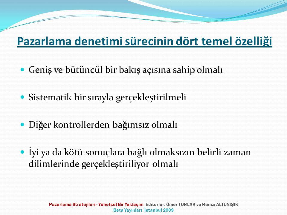Pazarlama denetimi sürecinin dört temel özelliği  Geniş ve bütüncül bir bakış açısına sahip olmalı  Sistematik bir sırayla gerçekleştirilmeli  Diğer kontrollerden bağımsız olmalı  İyi ya da kötü sonuçlara bağlı olmaksızın belirli zaman dilimlerinde gerçekleştiriliyor olmalı Pazarlama Stratejileri - Yönetsel Bir Yaklaşım Editörler: Ömer TORLAK ve Remzi ALTUNIŞIK Beta Yayınları İstanbul 2009