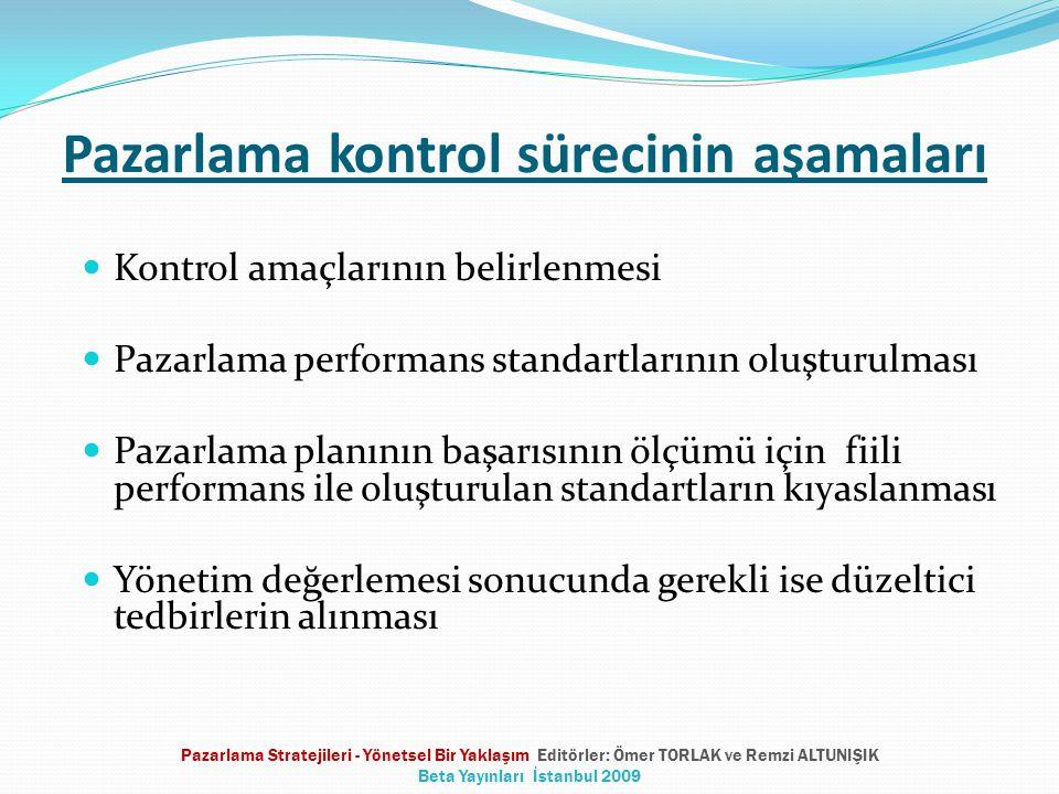 Pazarlama kontrol sürecinin aşamaları  Kontrol amaçlarının belirlenmesi  Pazarlama performans standartlarının oluşturulması  Pazarlama planının başarısının ölçümü için fiili performans ile oluşturulan standartların kıyaslanması  Yönetim değerlemesi sonucunda gerekli ise düzeltici tedbirlerin alınması Pazarlama Stratejileri - Yönetsel Bir Yaklaşım Editörler: Ömer TORLAK ve Remzi ALTUNIŞIK Beta Yayınları İstanbul 2009