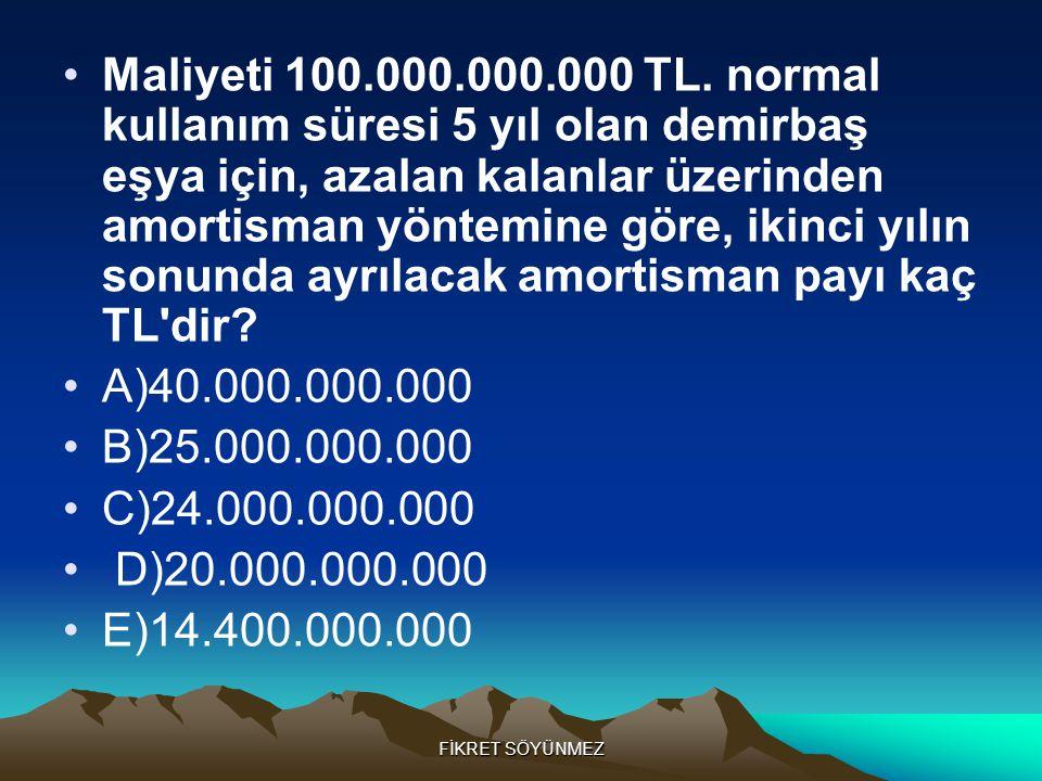 FİKRET SÖYÜNMEZ •Maliyeti 100.000.000.000 TL.