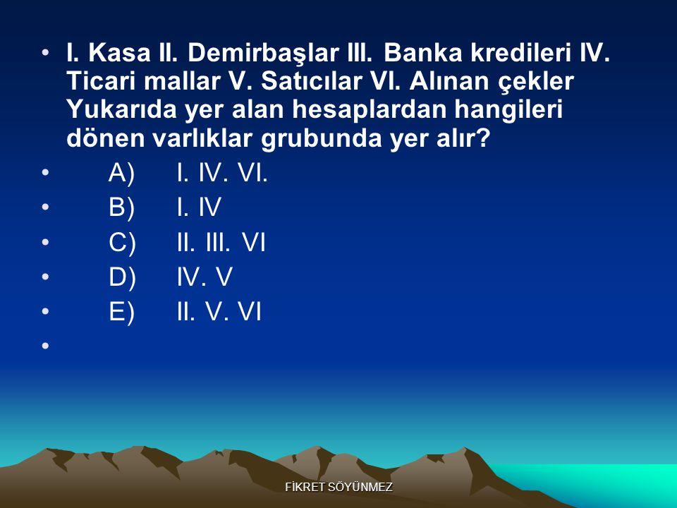 FİKRET SÖYÜNMEZ •I.Kasa II. Demirbaşlar III. Banka kredileri IV.