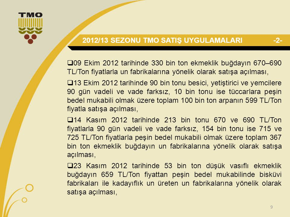 9  09 Ekim 2012 tarihinde 330 bin ton ekmeklik buğdayın 670–690 TL/Ton fiyatlarla un fabrikalarına yönelik olarak satışa açılması,  13 Ekim 2012 tarihinde 90 bin tonu besici, yetiştirici ve yemcilere 90 gün vadeli ve vade farksız, 10 bin tonu ise tüccarlara peşin bedel mukabili olmak üzere toplam 100 bin ton arpanın 599 TL/Ton fiyatla satışa açılması,  14 Kasım 2012 tarihinde 213 bin tonu 670 ve 690 TL/Ton fiyatlarla 90 gün vadeli ve vade farksız, 154 bin tonu ise 715 ve 725 TL/Ton fiyatlarla peşin bedel mukabili olmak üzere toplam 367 bin ton ekmeklik buğdayın un fabrikalarına yönelik olarak satışa açılması,  23 Kasım 2012 tarihinde 53 bin ton düşük vasıflı ekmeklik buğdayın 659 TL/Ton fiyattan peşin bedel mukabilinde bisküvi fabrikaları ile kadayıflık un üreten un fabrikalarına yönelik olarak satışa açılması, 2012/13 SEZONU TMO SATIŞ UYGULAMALARI-2-