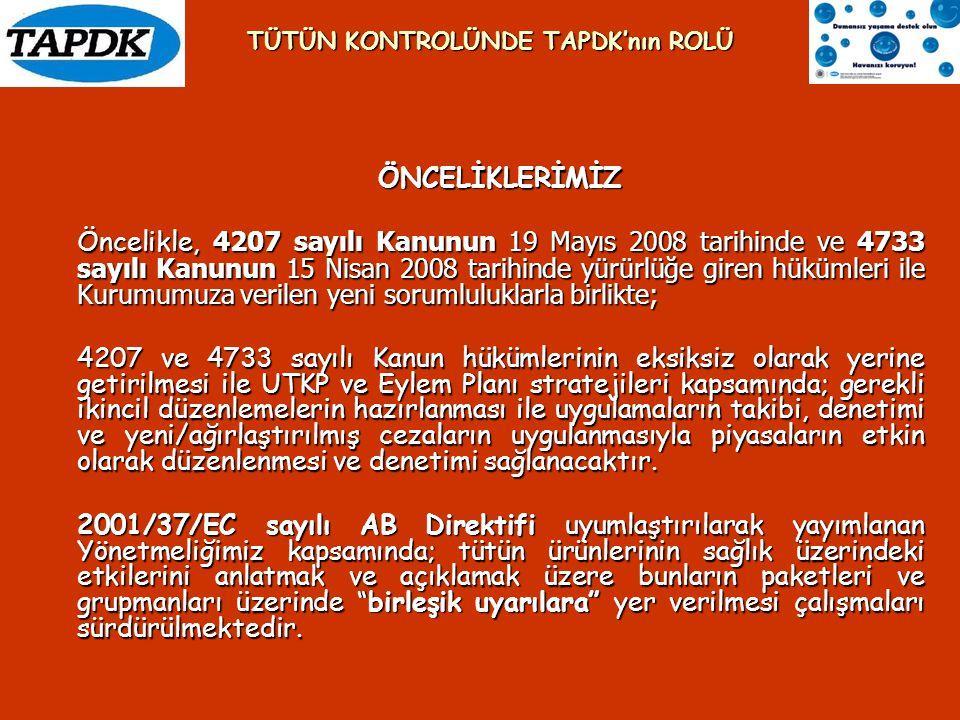 ÖNCELİKLERİMİZ Öncelikle, 4207 sayılı Kanunun 19 Mayıs 2008 tarihinde ve 4733 sayılı Kanunun 15 Nisan 2008 tarihinde yürürlüğe giren hükümleri ile Kur