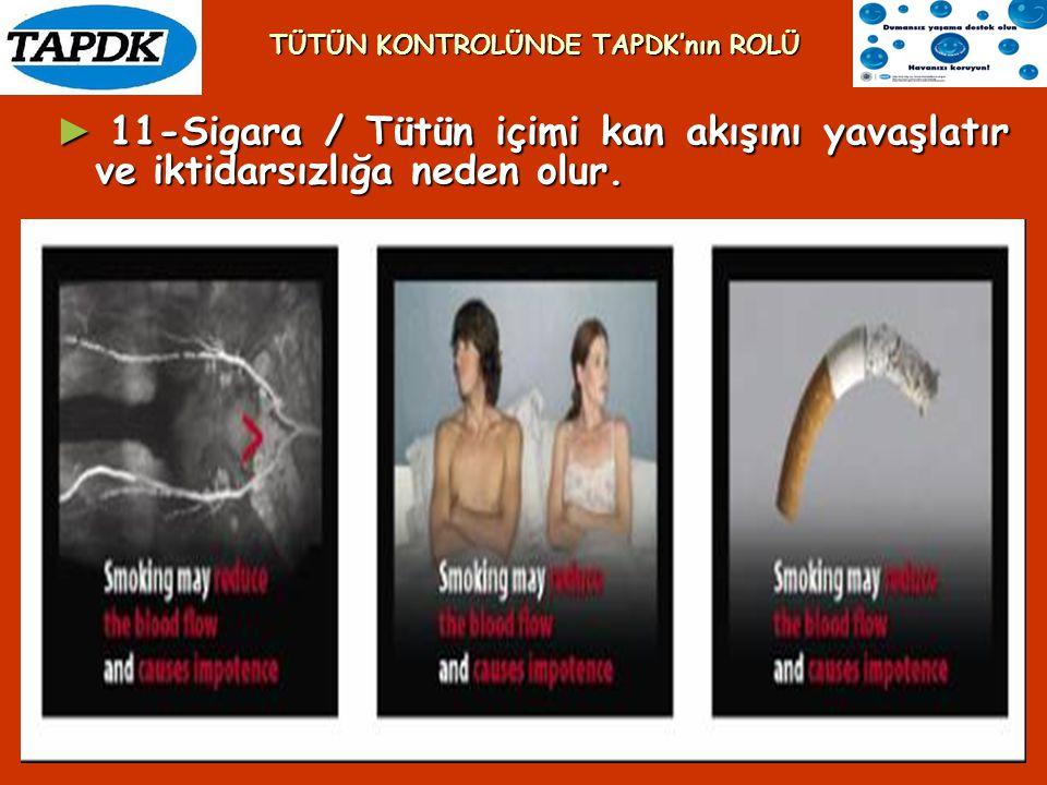 ► 11-Sigara / Tütün içimi kan akışını yavaşlatır ve iktidarsızlığa neden olur. TÜTÜN KONTROLÜNDE TAPDK'nın ROLÜ