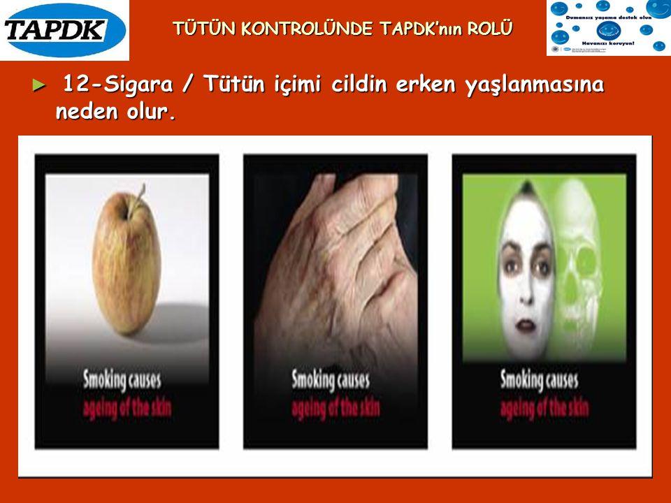 ► 12-Sigara / Tütün içimi cildin erken yaşlanmasına neden olur. TÜTÜN KONTROLÜNDE TAPDK'nın ROLÜ