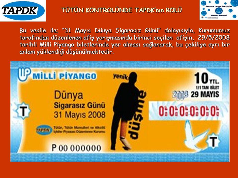 """Bu vesile ile; """"31 Mayıs Dünya Sigarasız Günü"""" dolayısıyla, Kurumumuz tarafından düzenlenen afiş yarışmasında birinci seçilen afişin, 29/5/2008 tarihl"""