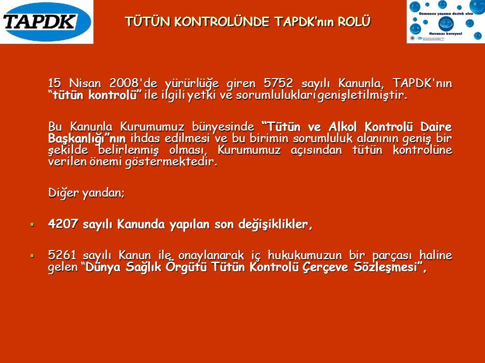 """15 Nisan 2008'de yürürlüğe giren 5752 sayılı Kanunla, TAPDK'nın """"tütün kontrolü"""" ile ilgili yetki ve sorumlulukları genişletilmiştir. Bu Kanunla Kurum"""