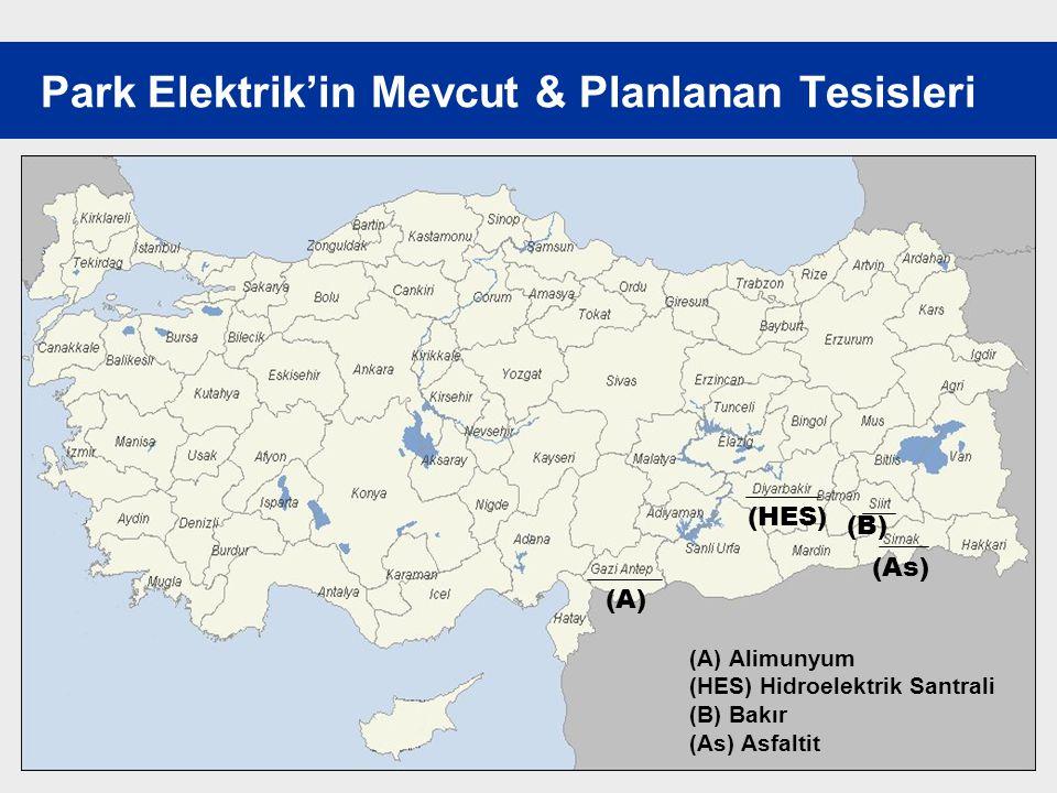 11 Park Elektrik'in Mevcut & Planlanan Tesisleri (B) (As) (HES) (A) (A)Alimunyum (HES) Hidroelektrik Santrali (B) Bakır (As) Asfaltit