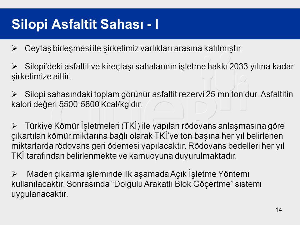 14 Silopi Asfaltit Sahası - I  Ceytaş birleşmesi ile şirketimiz varlıkları arasına katılmıştır.  Silopi'deki asfaltit ve kireçtaşı sahalarının işlet
